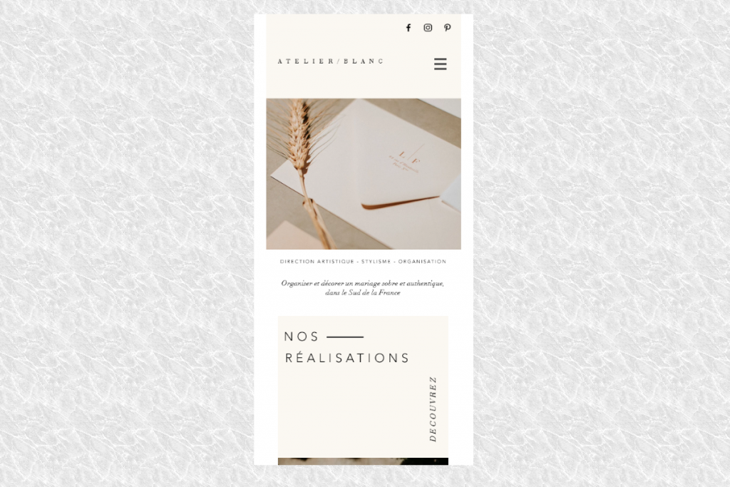 Thiết kế web mobile Atelier/Blanc