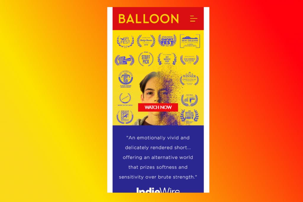 Thiết kế web mobile Balloon Movie