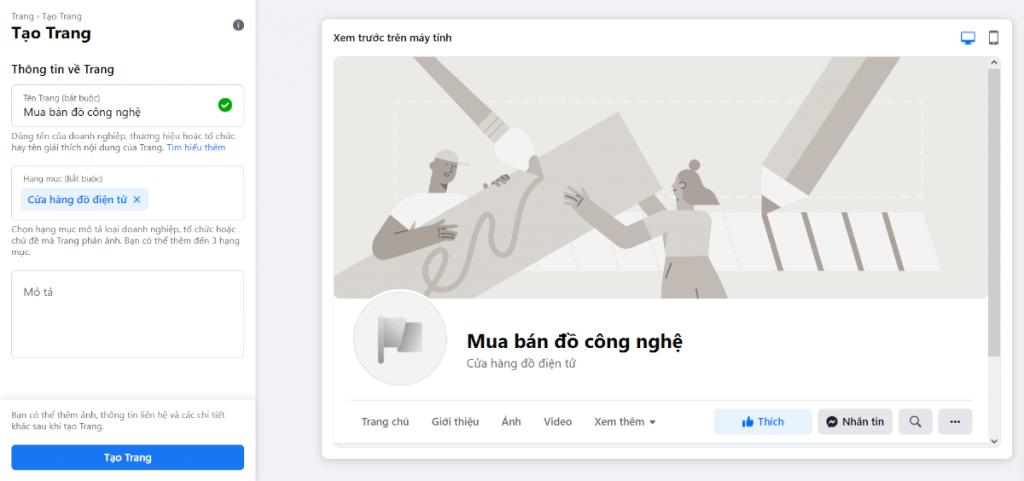 Tạo tên trang Facebook