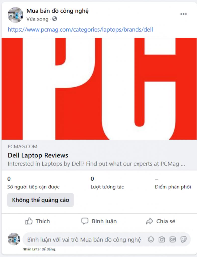 Loại post chia sẻ đường link trên trang Facebook