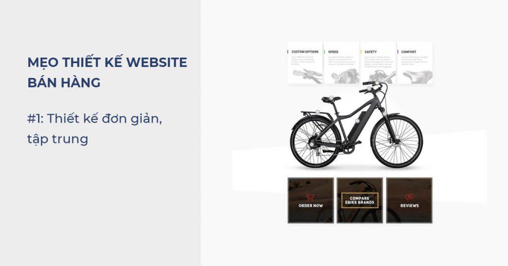 Mẹo thiết kế Website bán hàng: Thiết kế đơn giản, tập trung