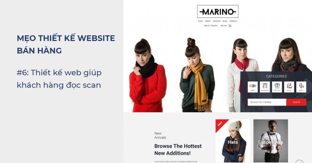 Mẹo thiết kế Website bán hàng: Thiết kế web giúp khách hàng đọc scan