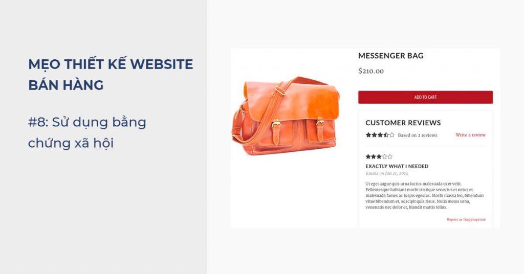 Mẹo thiết kế Website bán hàng: Sử dụng bằng chứng xã hội