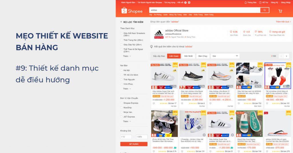 Mẹo thiết kế Website bán hàng: Thiết kế danh mục dễ điều hướng