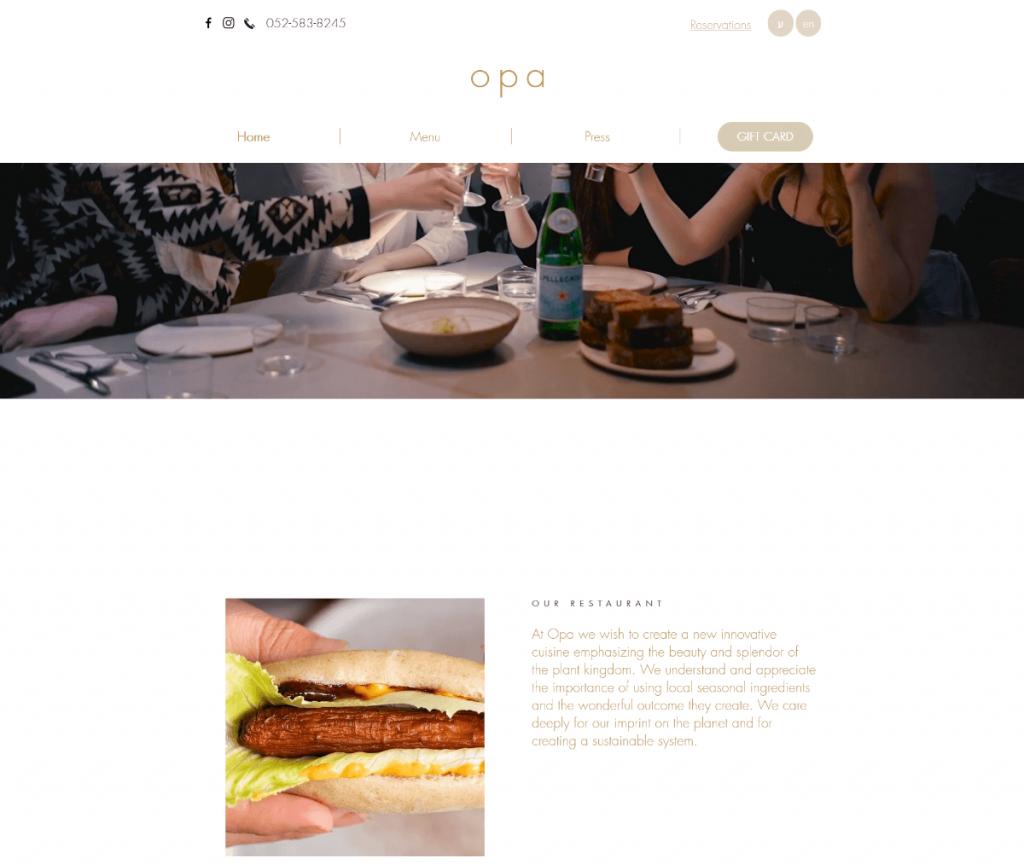 Opa thiết kế web nhà hàng