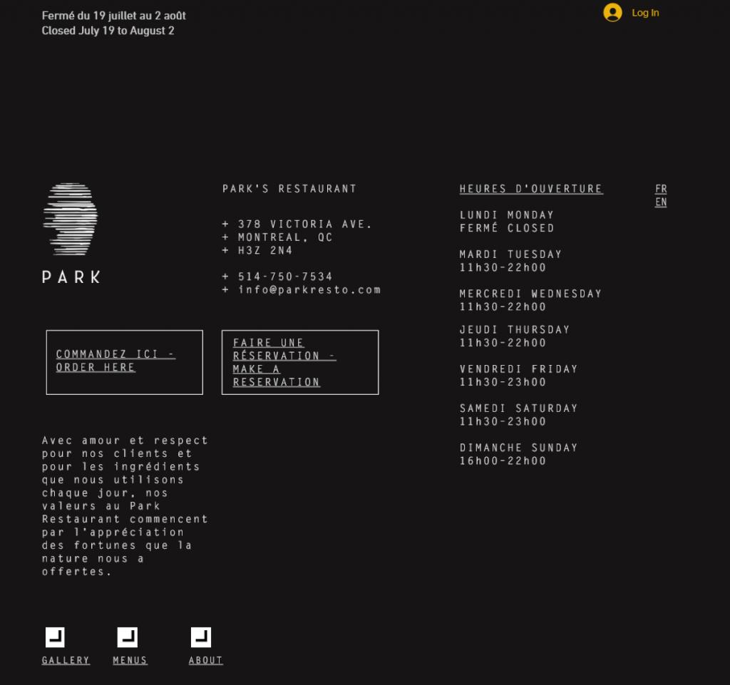 PARK thiết kế web nhà hàng
