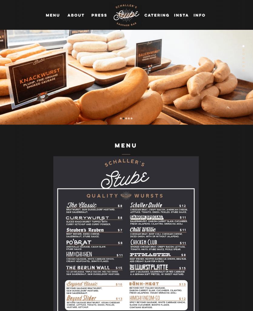 Schaller's Stube thiết kế web nhà hàng